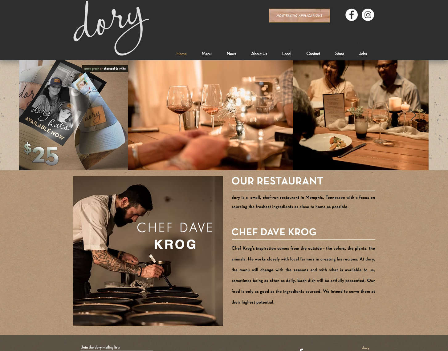 Dory Restaurant Website Design