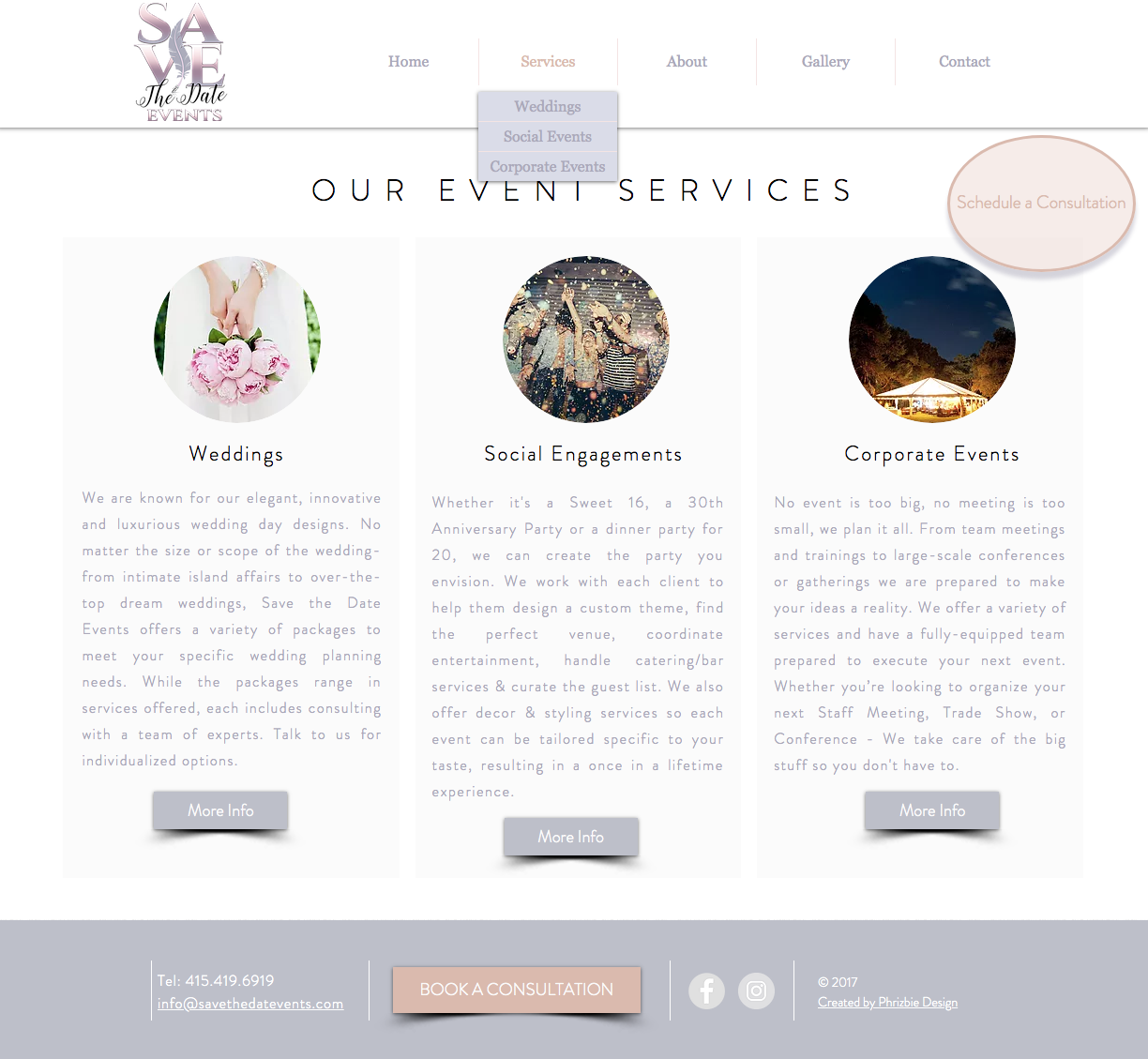 Save The Date Events Website Design