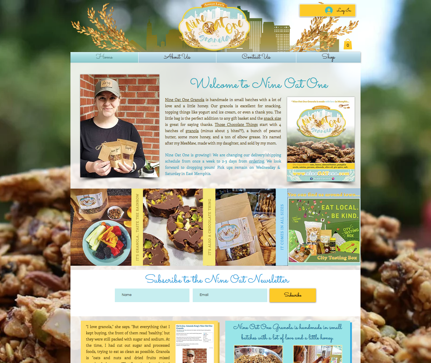 Nine Oat One Granola e-commerce website