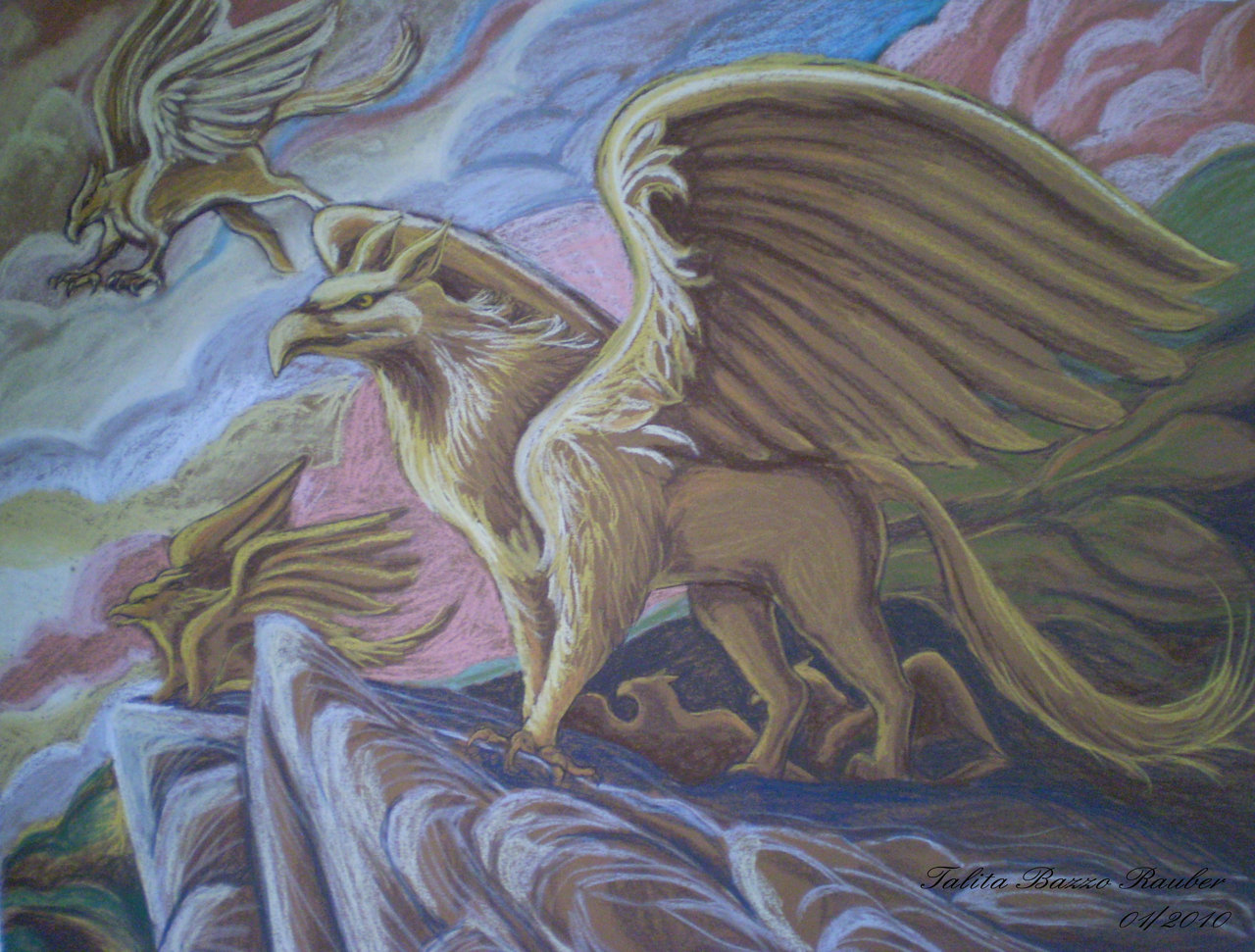 36) Griffins - pastel on paper A2 - 2010