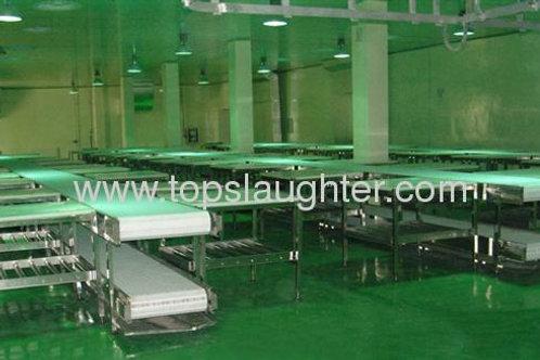 Sheep slaughterhouse machine pallet conveyor