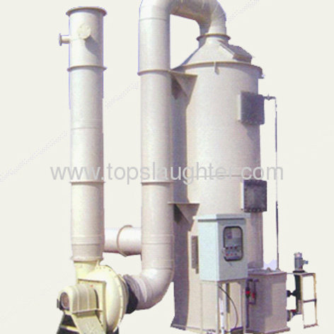 waste gas treatment system for poultry slaughterin