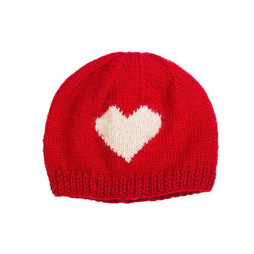 Heart Motif Beanie, Red