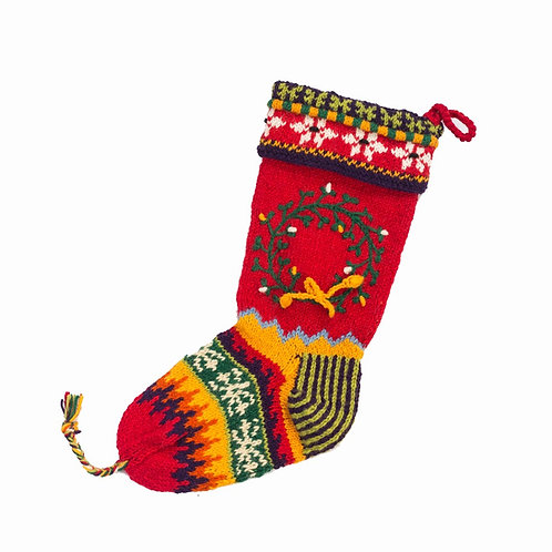 Wreath Stocking Red