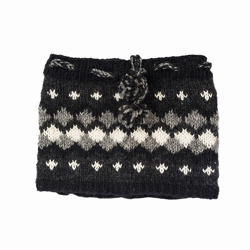 Levi Fairisle Neck-warmer Charcoal