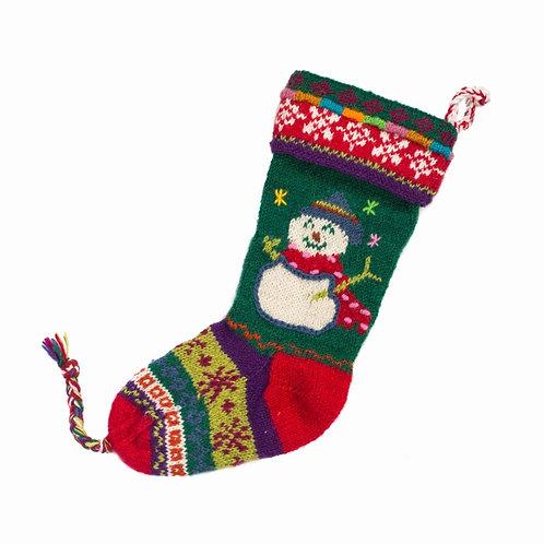 Snowman Stocking,Green