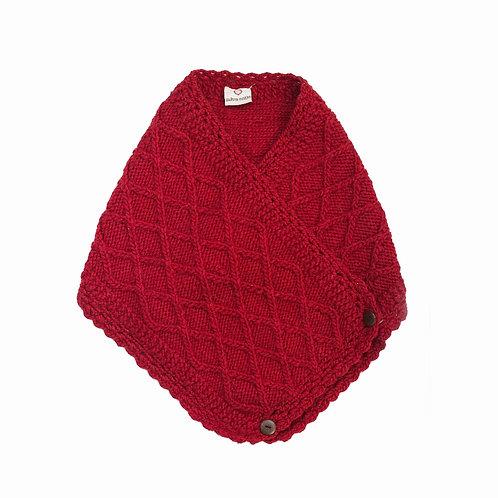 Merino Lattice Neck-warmer,Red