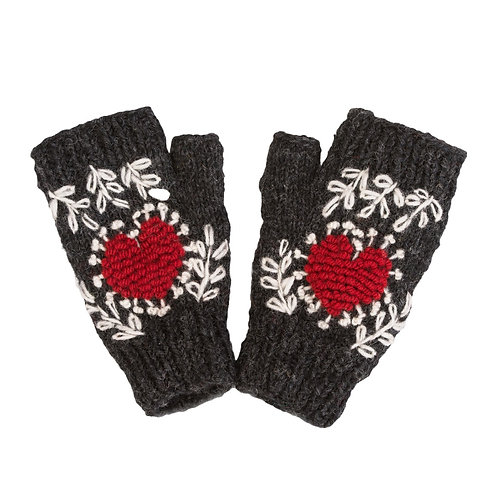 Heart Embroidered Hand-warmer,Charcoal