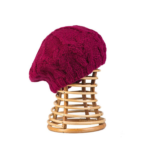 Cable Beret Raspberry