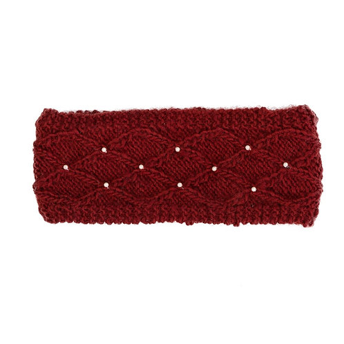 Lattice Pearl Headband Red