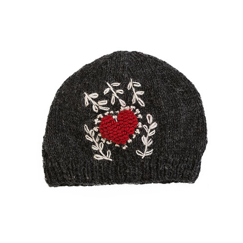 Heart Embroidered Beanie