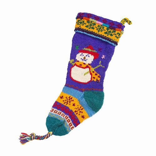 Snowman Stocking, Purple