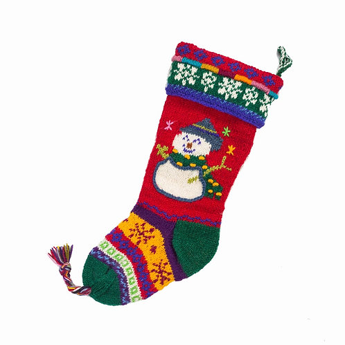 Snowman Stocking Red