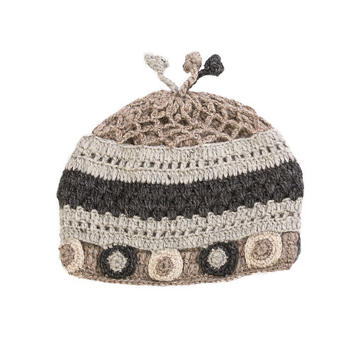 Circle Crochet Beanie, Grey