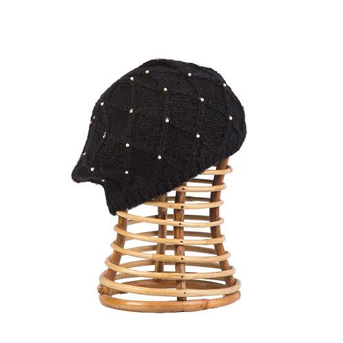 Lattice Pearl Beret, Black