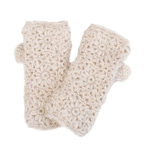 Daisy Crochet Handwarmer Oatmeal