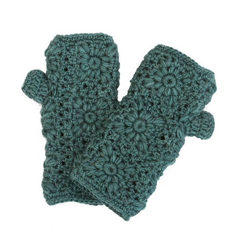 Daisy Crochet Handwarmer Teal