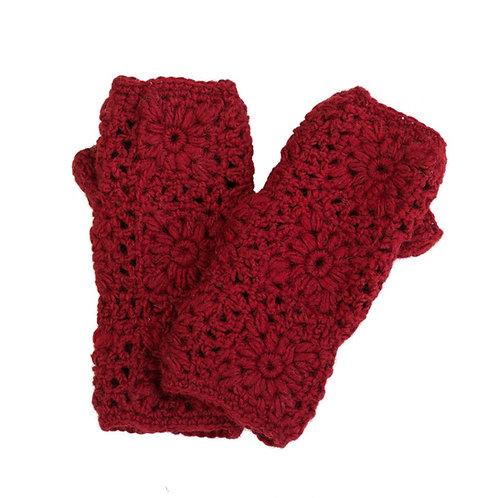 Daisy Crochet Handwarmer Red