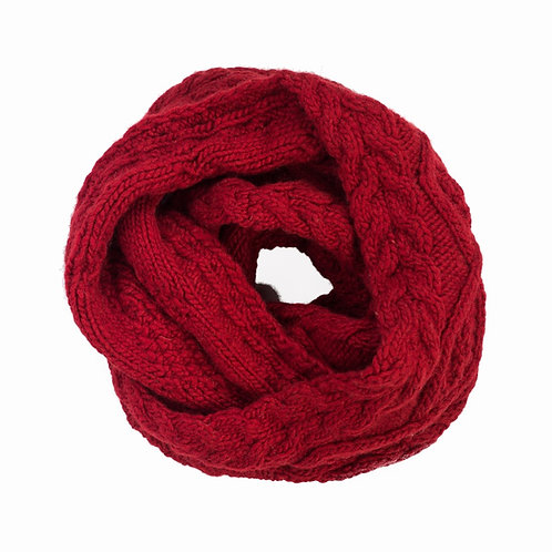 Merino Cable Infinity Scarf Red
