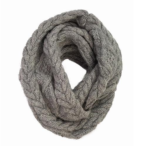 Merino Cable Infinity Scarf Grey