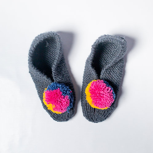 Colorful Pompom Booties