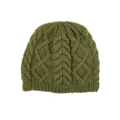 Merino Cable Beanie, Olive Green