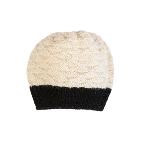 Gooseberry Slouchy Beanie, Black/White