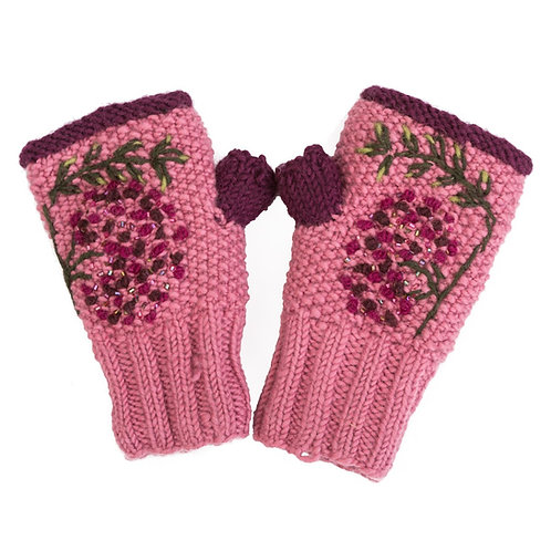Merino Blossom Handwarmer Pink