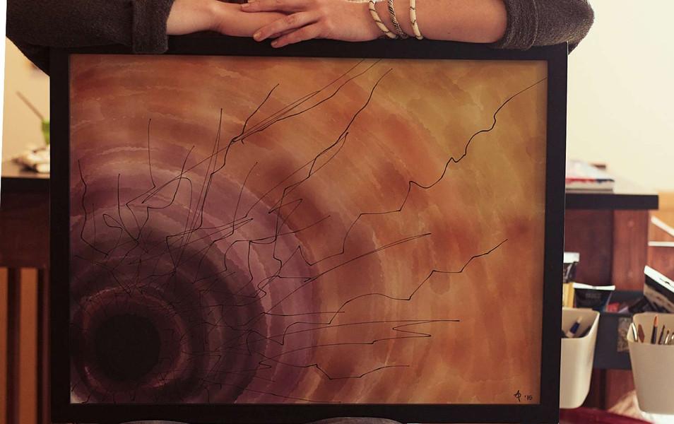 Amanda Porter with her artwork Trauma.