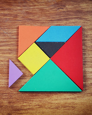 top view of a missing piece in a square