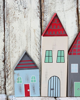 image of vintage wooden colorful houses