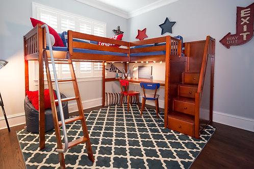 Maxtrix Mid Corner Loft Bed with Ladder + Stairs