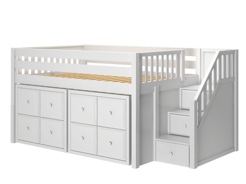 Maxtrix TWIN Low Loft Bed with Stairs + Storage