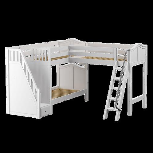 Maxtrix High Corner Loft Bed with Ladder + Stairs