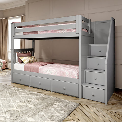 Space Saver: Twin/Twin Staircase Bunk with Under bed Drawers
