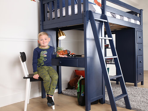 Space Saver: Twin Size Loft Bed Ladder, with Desk & Dresser-Bookcase