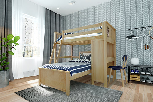 Space Saver: Twin Size Loft Bed Ladder, with Desk & Twin Size Lower Bed