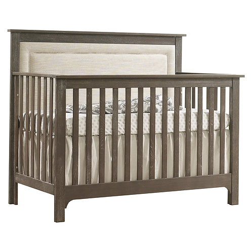 """Emerson: """"5-in-1"""" Convertible Crib with Upholstered Headboard"""