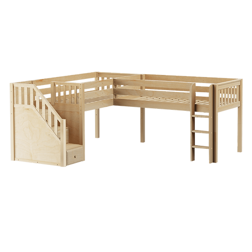 Maxtrix Twin Low Corner Loft Bed with Ladder + Stairs
