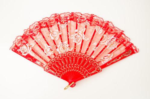 新娘红色玫瑰蕾丝扇子 Chinese Vintage Fancy Lace Hand Fan