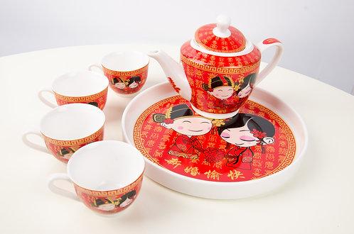 夫妻卡通精致敬茶茶套 Wedding Ceramic Tea Sets