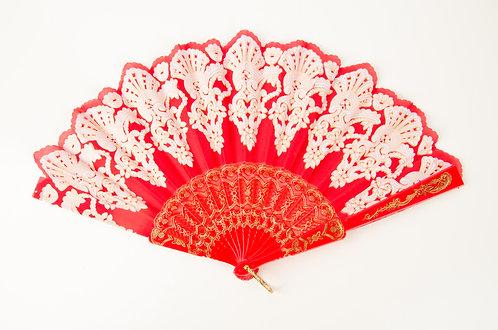 新娘红色欧式扇子 Chinese Vintage Fancy Lace Hand Fan
