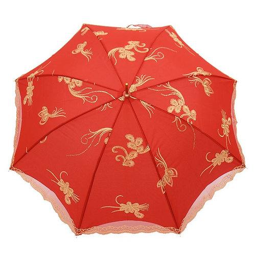 结婚花开富贵刺绣蕾丝新娘红伞 Wedding Red Lace Umbrella