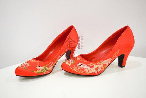 传统龙凤绣花新娘鞋3寸新娘鞋 Traditional Chinese Wedding Shoes 3inch