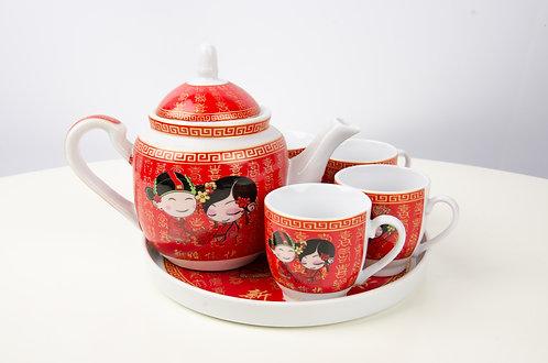 夫妻卡通喜庆红敬茶茶套 Wedding Ceramic Tea Sets