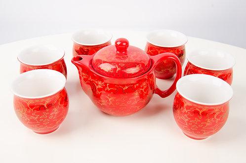 婚庆红釉双喜敬茶茶具套装 Wedding Red Glazed Tea Set