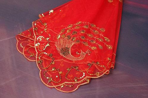 Chinese Wedding Bridal Red Veil (ReadyStock) 结婚红色头纱 褂头纱 透明头纱-孔雀喜
