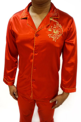 龙凤新郎新娘红睡衣 (男) (红色) Chinese Wedding Pajamas (Male) (Red)