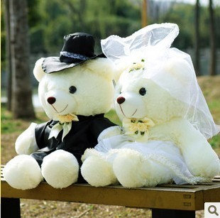 结婚娃娃 2pcs/lot 30cm Couple Bear Wedding Teddy Bear Plush Toys Wedding Gift Christ