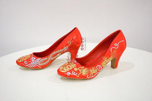 手工传统金银线刺绣龙凤绣花鞋3寸新娘鞋 Traditional Chinese Wedding Shoes 3inch